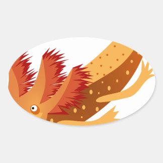 Axolotl monster orange oval sticker