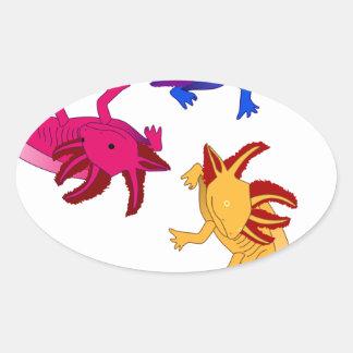Axolotl trio oval sticker