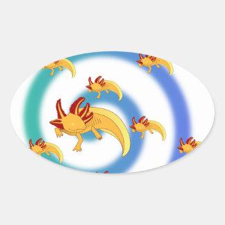 Axolotl vortex blue oval sticker