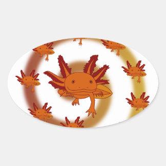 Axolotl vortex orange oval sticker