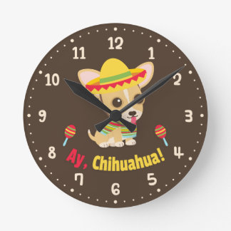 Ay Chihuahua Dog Mexican Room Decor Clock