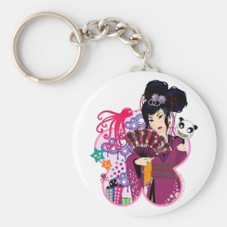 Ayaka in Harajuku Town Basic Round Button Key Ring