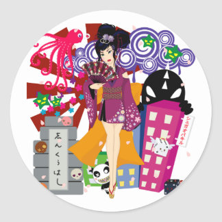 Ayaka in Harajuku Town Round Sticker