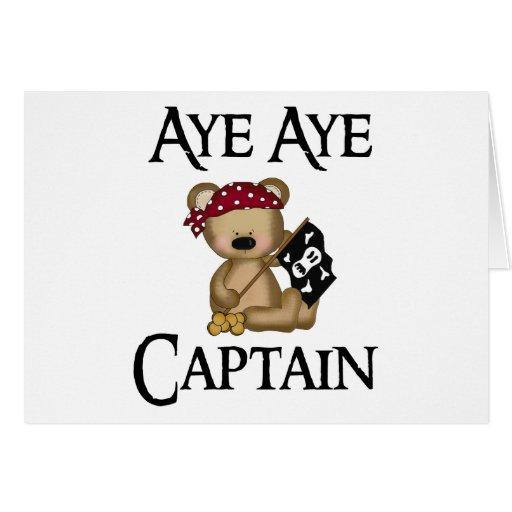 Aye Aye Captain Teddy Bear Pirate Notecard Greeting Cards