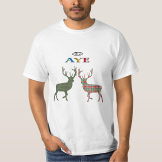 Aye Eye Scottish Independence Tartan Stag T-Shirt