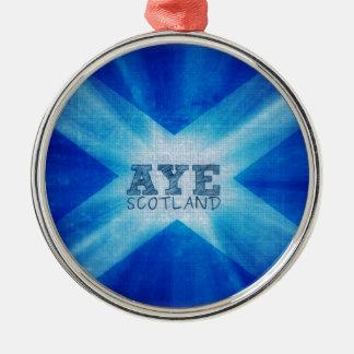Aye Scotland.jpg Silver-Colored Round Decoration