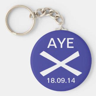 Aye to Scottish Independence Keyring Basic Round Button Key Ring