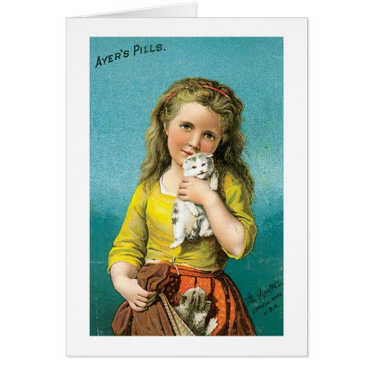 Ayers Pills Girl With Cat Card