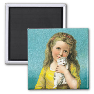 Ayers Pills Girl With Cat Square Magnet