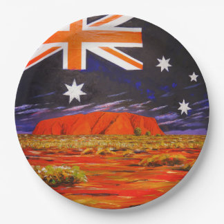 Ayers rock and australian flag 9 inch paper plate