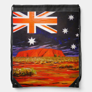 Ayers rock and australian flag drawstring bag