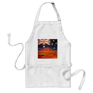 Ayers rock and australian flag standard apron
