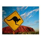 ayers rock kangaroo sign postcard