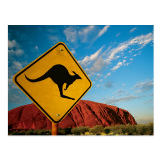 ayers rock kangaroo sign postcard