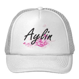 Aylin Artistic Name Design with Flowers Cap