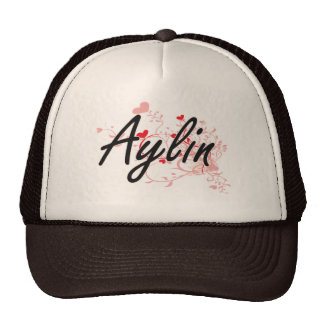 Aylin Artistic Name Design with Hearts Cap