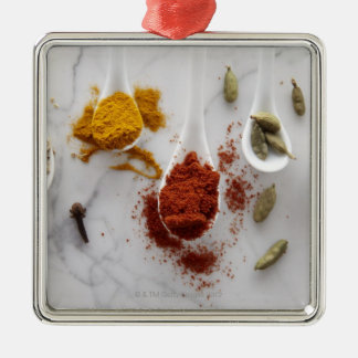 Ayurvedic Warming Spices Silver-Colored Square Decoration