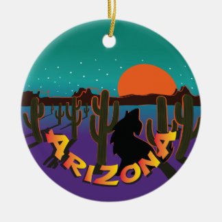 AZ  Arizona Christmas Howling Coyote Round Ceramic Decoration