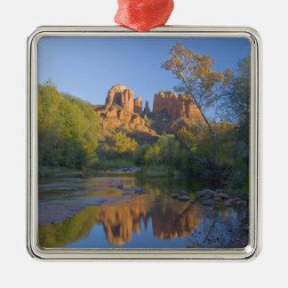 AZ, Arizona, Sedona, Crescent Moon Recreation Silver-Colored Square Decoration