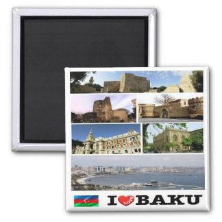 AZ - Azerbaijan - Baku - I Love - Collage Square Magnet