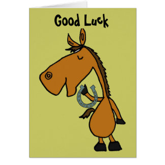 AZ- Horse and Horse Shooe Good Luck Card