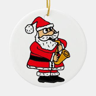 AZ- Santa Playing Saxophone Ornament