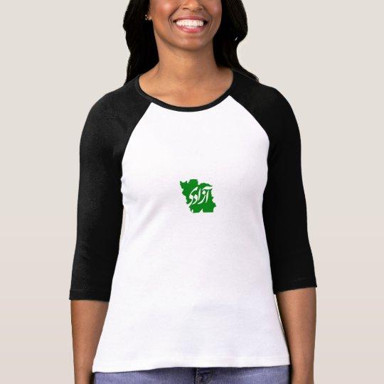 Azadi (Freedom) Ladies 3/4 Sleeve Raglan (Fitted) T-Shirt
