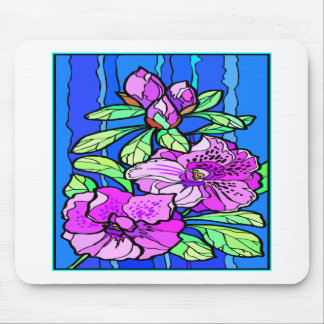 Azalea Flowers Stained Glass Mouse Pad