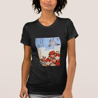 Azaleas and Sparrow, Katsushika Hokusai T-shirt