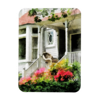Azaleas by Porch With Wicker Chair Rectangular Photo Magnet