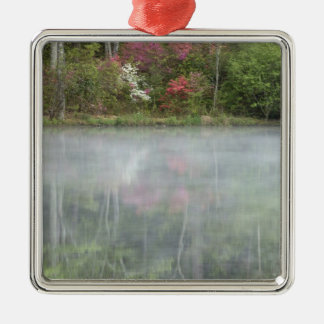 Azaleas relfecting in a pond during early Silver-Colored square decoration