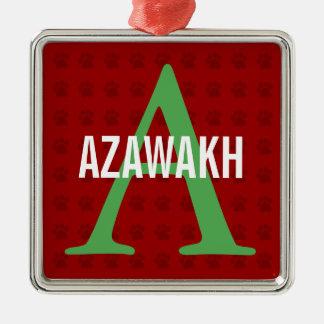 Azawakh Breed Monogram Silver-Colored Square Decoration