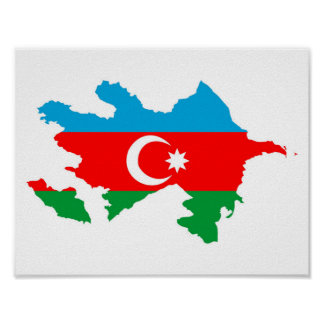 azerbaijan country flag map shape symbol poster