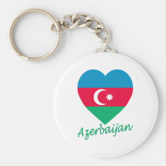 Azerbaijan Flag Heart Basic Round Button Key Ring