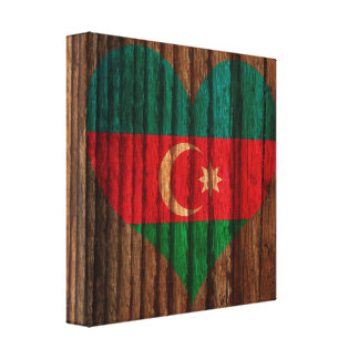 Azerbaijan Flag Heart on Wood theme Stretched Canvas Print