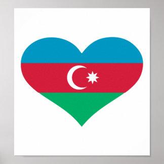 Azerbaijan flag heart print