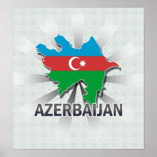 Azerbaijan Flag Map 2.0 Poster