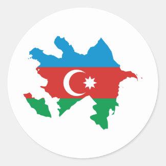 Azerbaijan Flag map AZ Classic Round Sticker