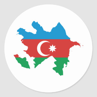 Azerbaijan Flag map AZ Round Sticker
