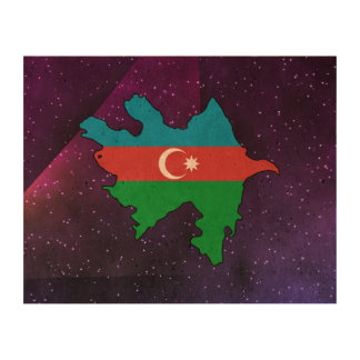 azerbaijan Flag Map on abstract space background Cork Paper Print