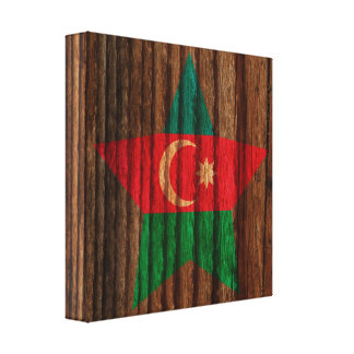 Azerbaijan Flag Star on Wood theme Gallery Wrapped Canvas