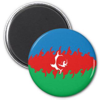 Azerbaijan Gnarly Flag 6 Cm Round Magnet