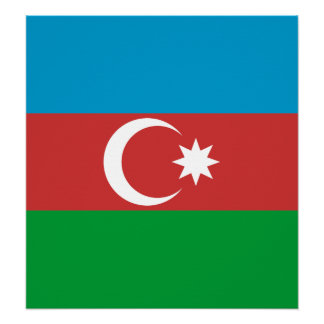 Azerbaijan High quality Flag Print