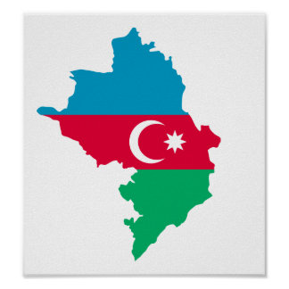 Azerbaijan map flag print
