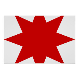Azerbaijanian Star, Azerbaijan flag Print