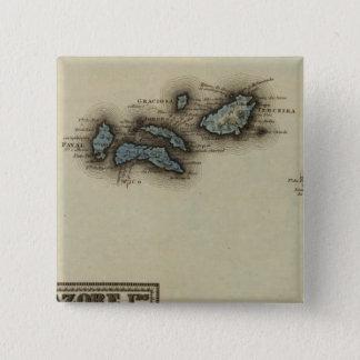 Azore Islands Atlas Map 15 Cm Square Badge