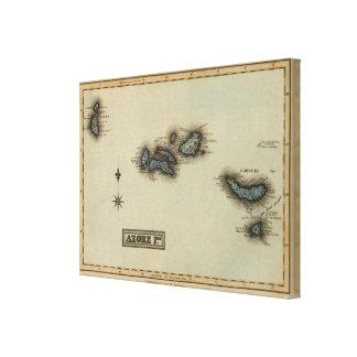 Azore Islands Atlas Map Canvas Print