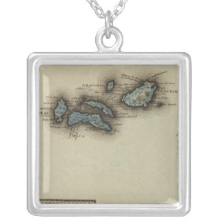 Azore Islands Atlas Map Silver Plated Necklace