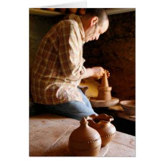 Azorean potter at work card