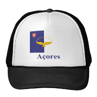 Azores Flag with Name in Portuguese Cap